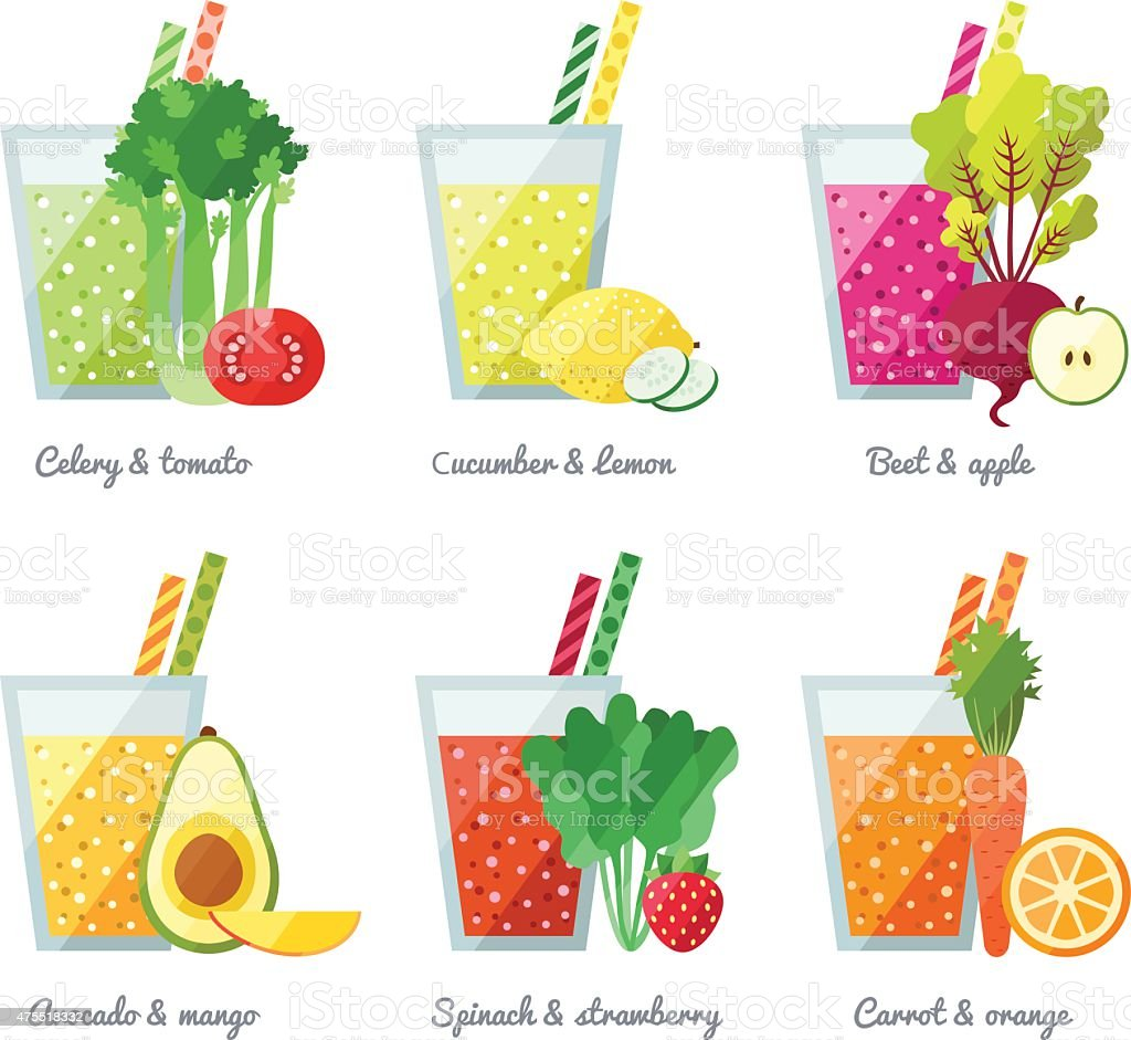 Fruit and vegetable smoothie (juice) vector concept. Healthy drink. vector art illustration