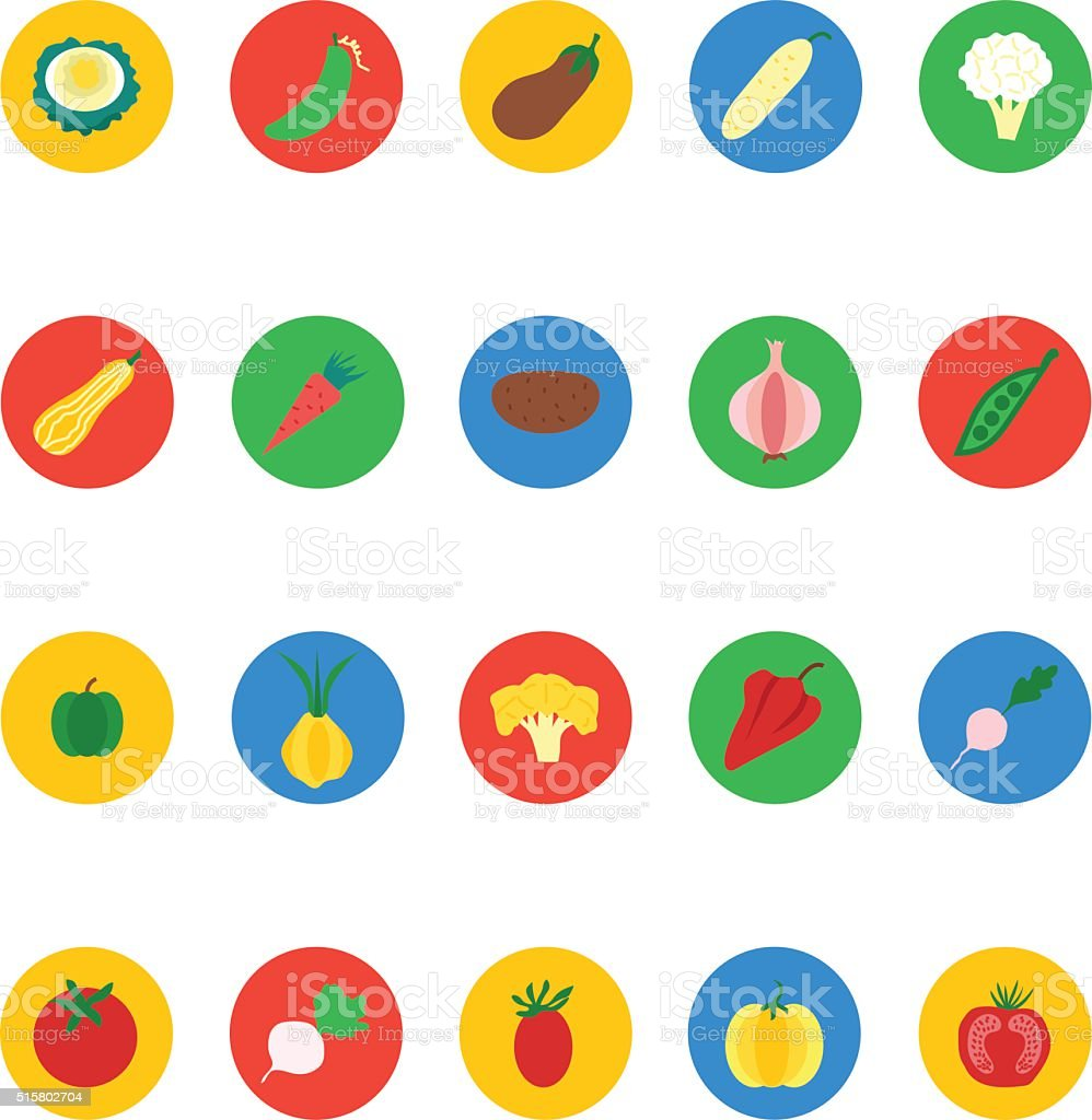 Fruit and Vegetable Vector Icons 4 vector art illustration