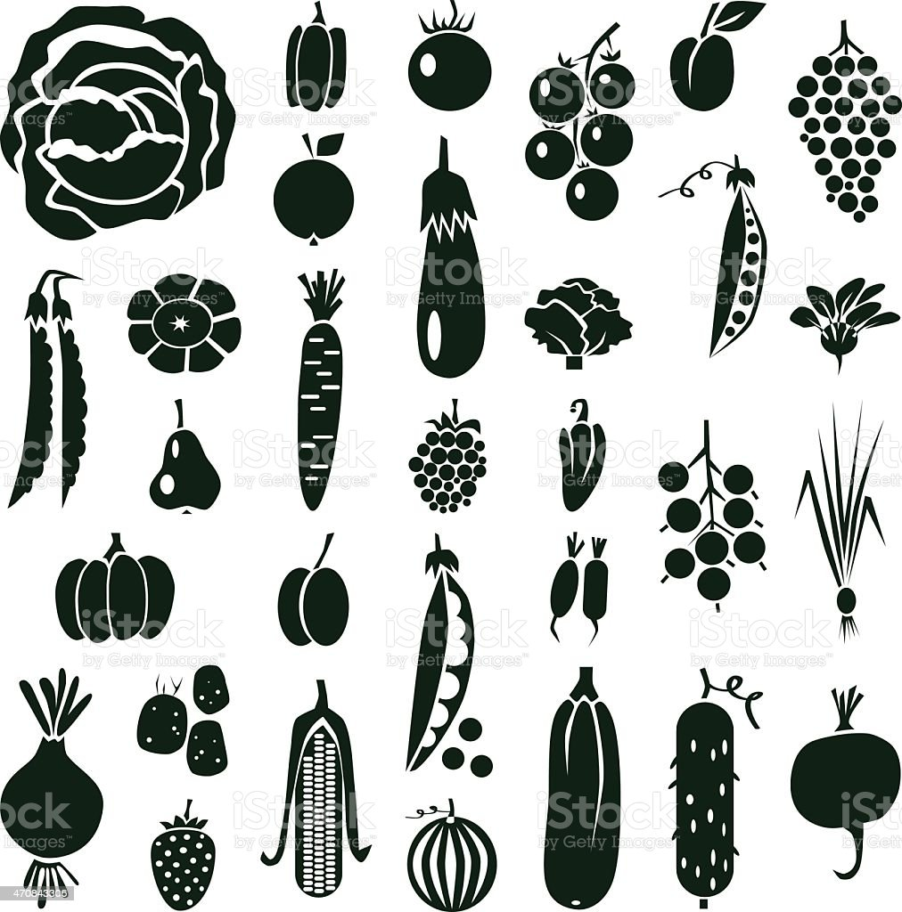 fruit and vegetables icons on white vector art illustration