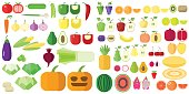 Fruit and vegetables set. Vector flat products