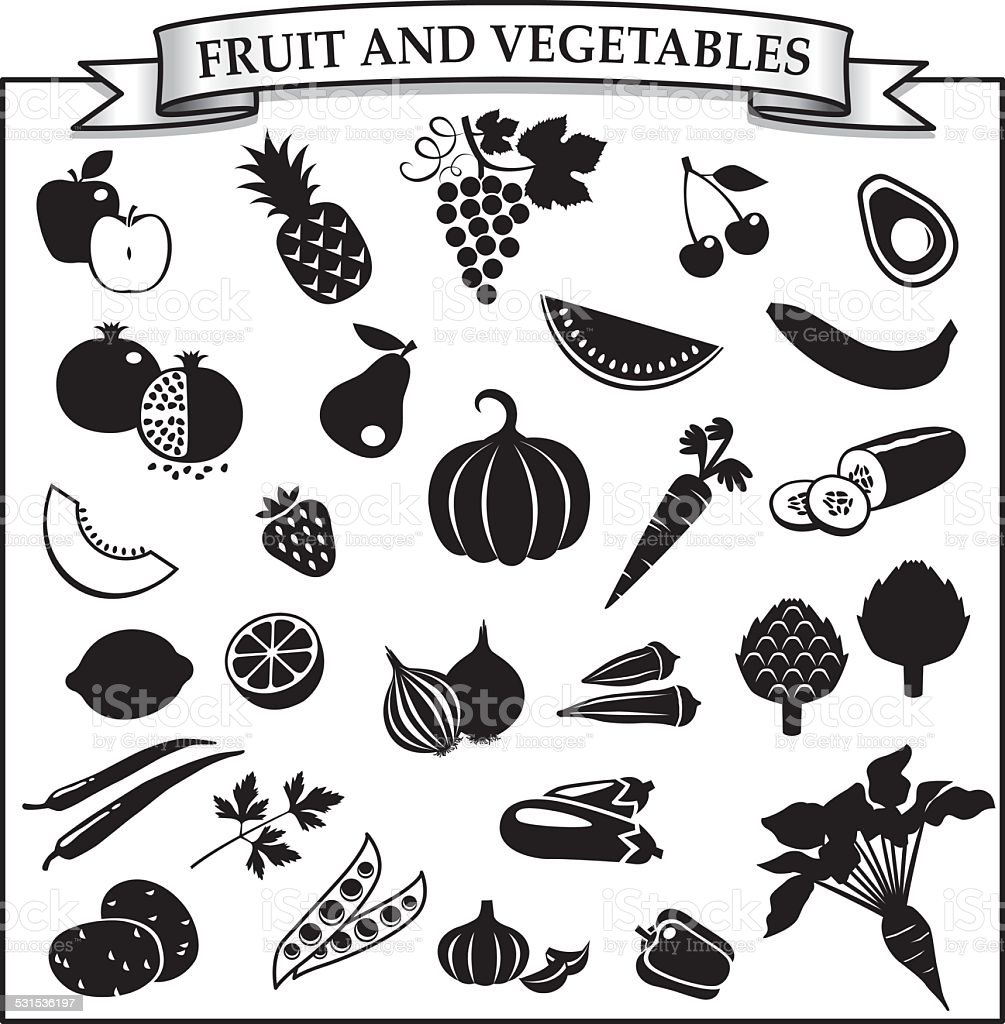 Fruit and vegetables silhouette-icon set vector art illustration