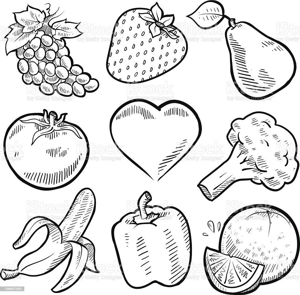 Line Drawing Vegetables : Fruit and vegetables sketches set stock vector art