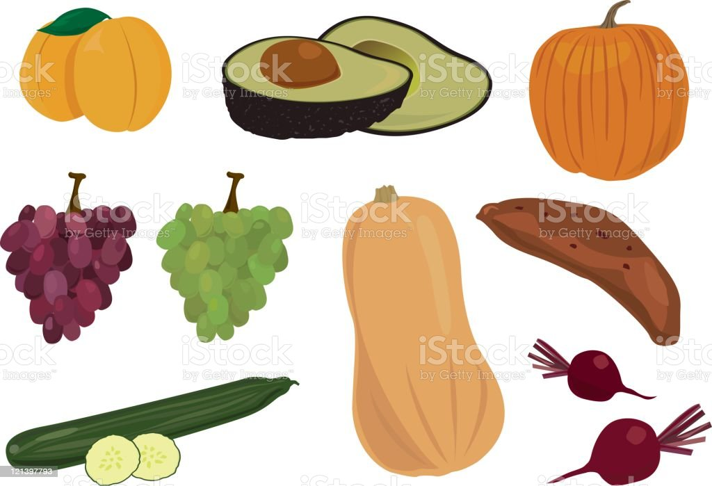Fruit and Vegetables vector art illustration