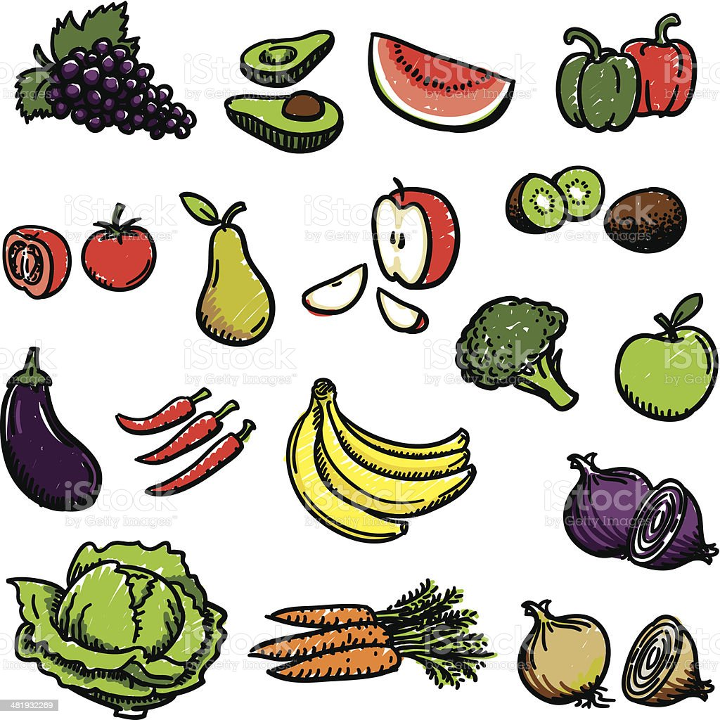 Fruit and vegetables royalty-free stock vector art