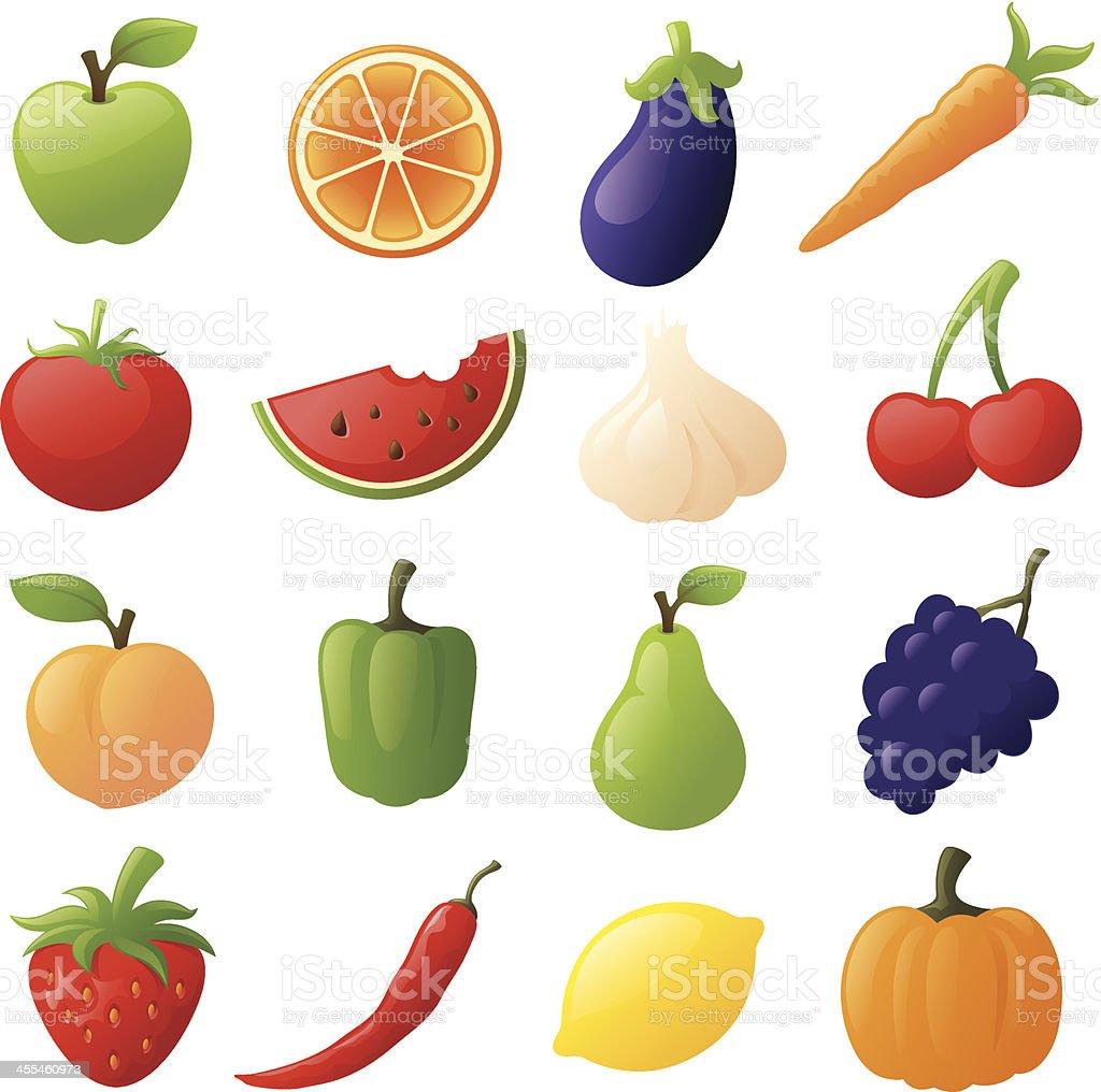 Fruit and Veggies vector art illustration