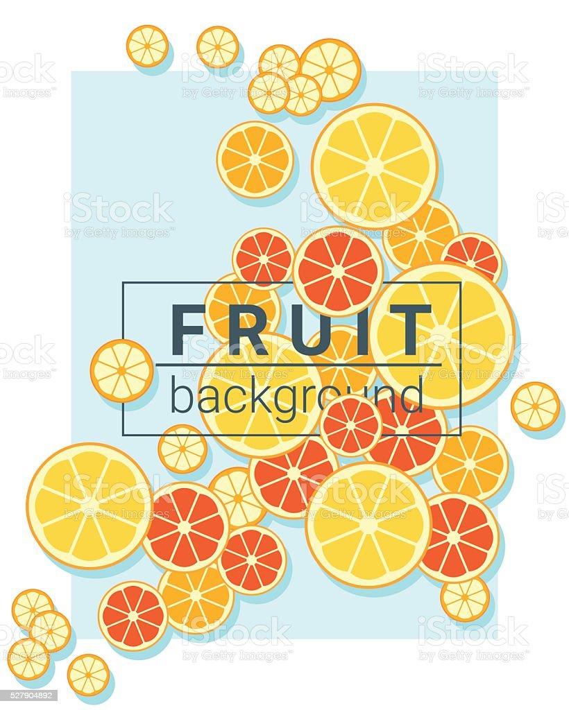 Fruit background with oranges vector art illustration