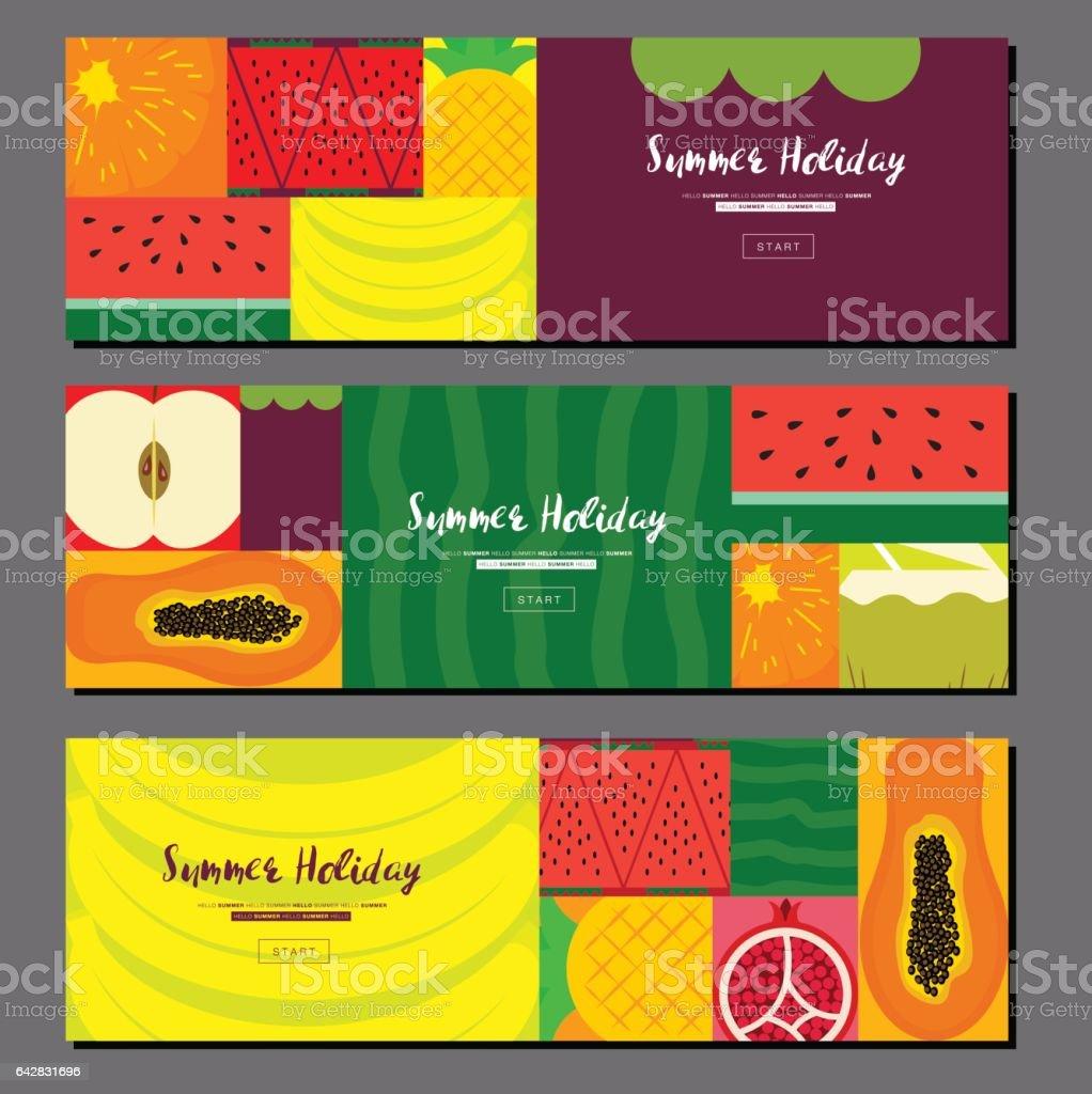 Fruit banner collection. Summer fruit banner set. Flat design, Vector illustration vector art illustration