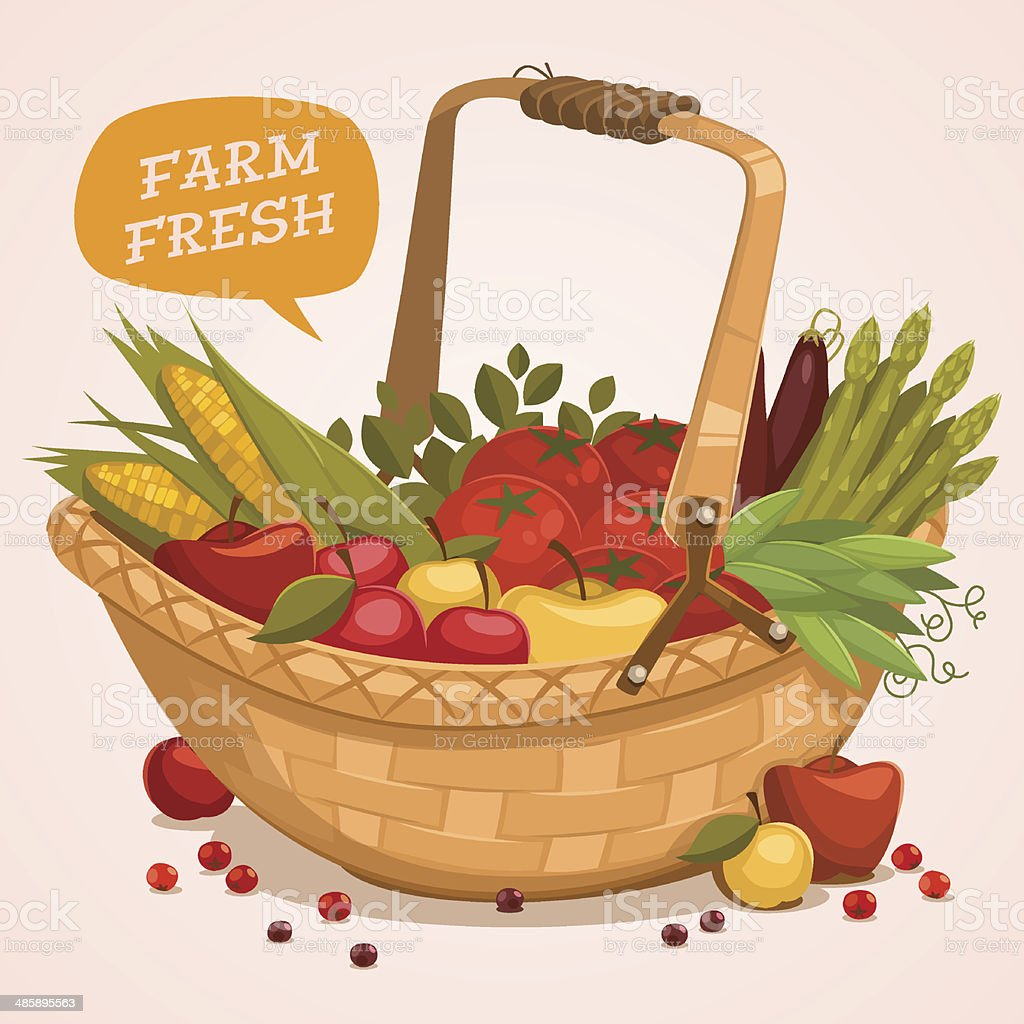 Fruit Basket. Farm fresh. vector art illustration
