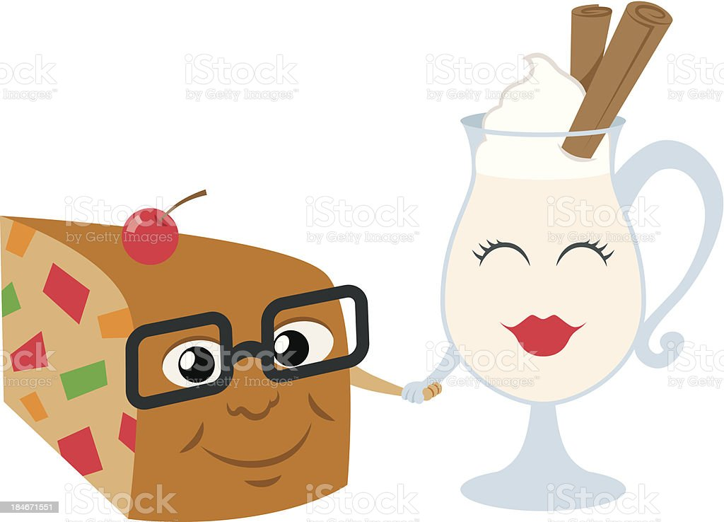 Fruit Cake and Egg Nog royalty-free stock vector art