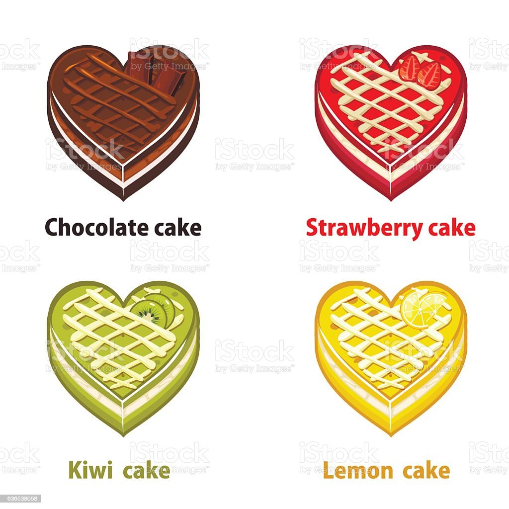 Fruit cakes collection valentines day vector art illustration