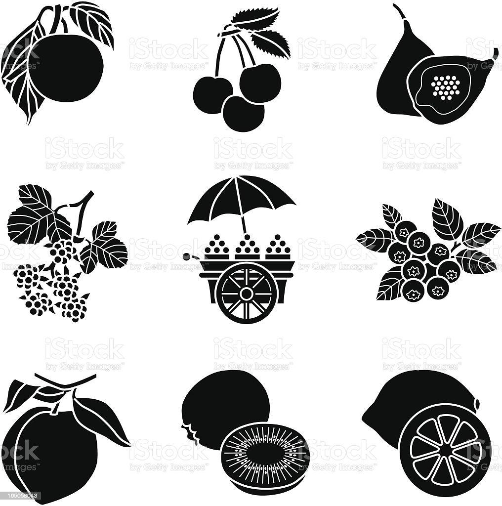 fruit cart icons vector art illustration