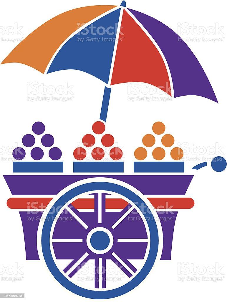 fruit cart vector art illustration