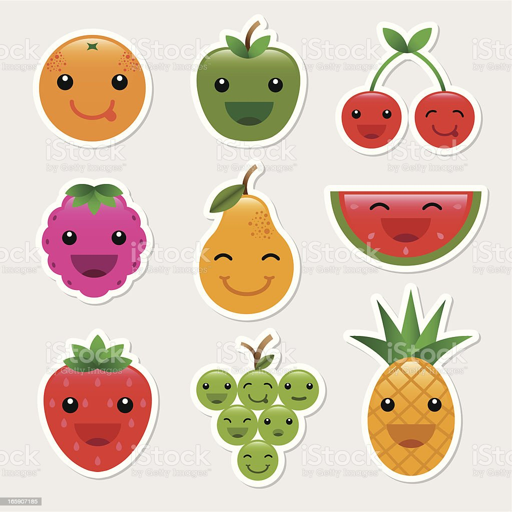 Fruit Character Icons vector art illustration