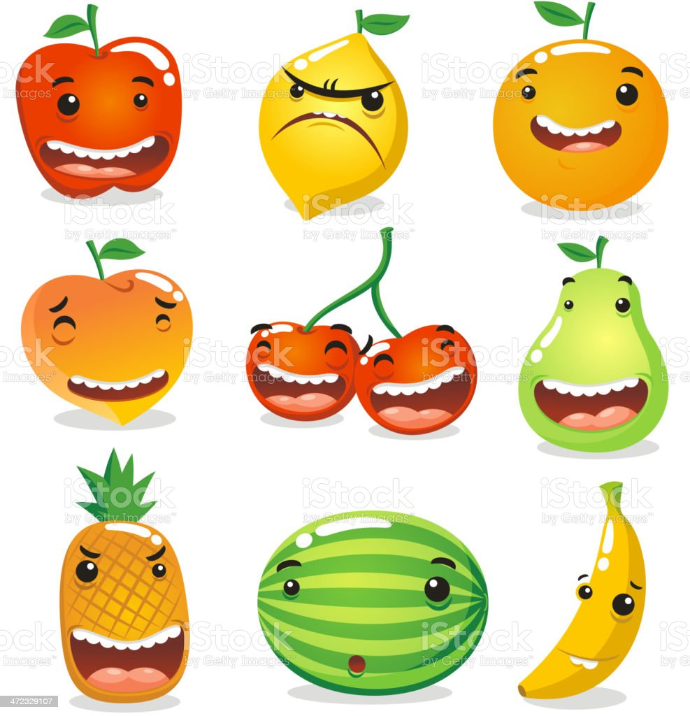 Fruit Characters royalty-free stock vector art