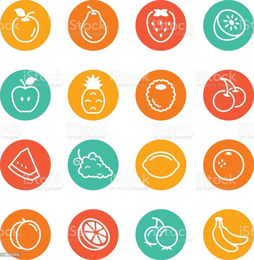 Fruit Circle Icons vector art illustration