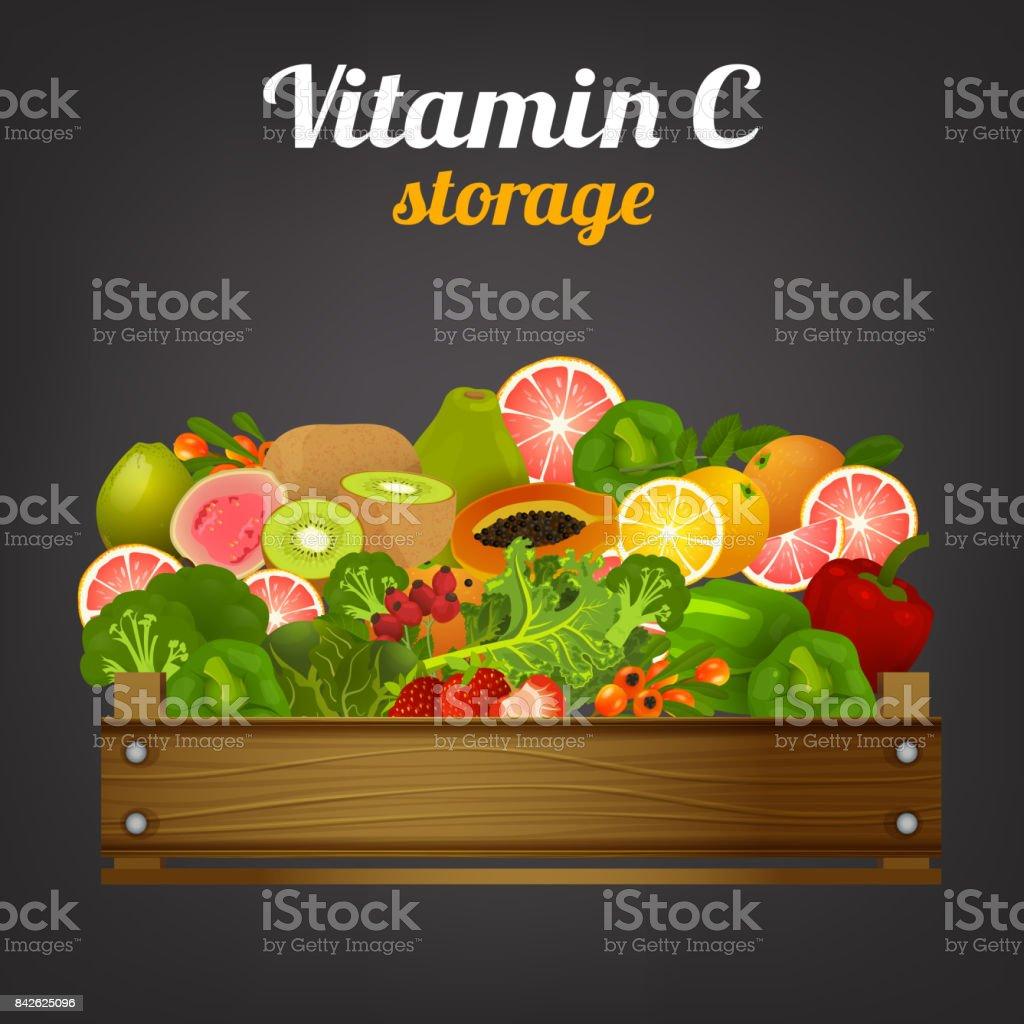 Fruit Crate Image vector art illustration