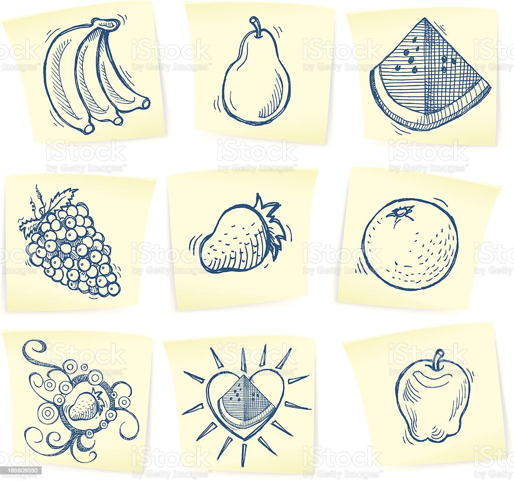 Fruit Doodles on Sticky Notes - Apple, Banana, Pear royalty-free stock vector art