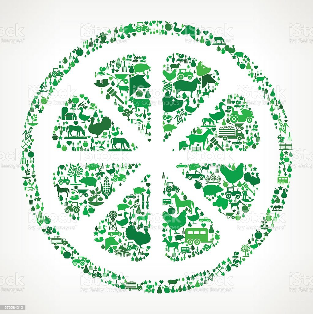 Fruit Farming and Agriculture Green Icon Pattern vector art illustration
