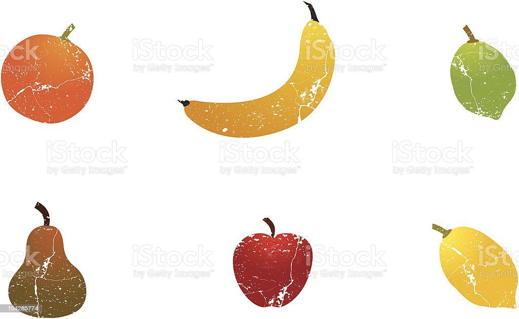 Fruit fresh grungeset vector art illustration