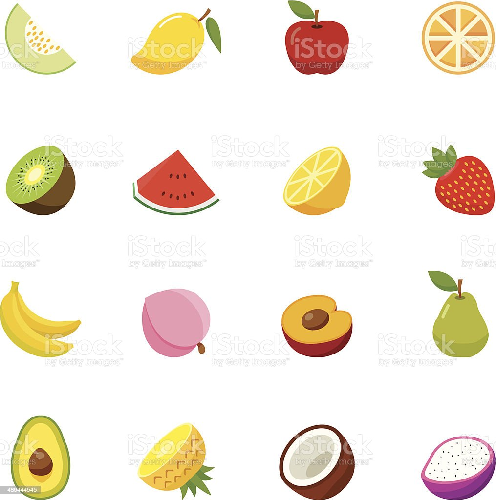 Fruit full color flat design icon. vector art illustration