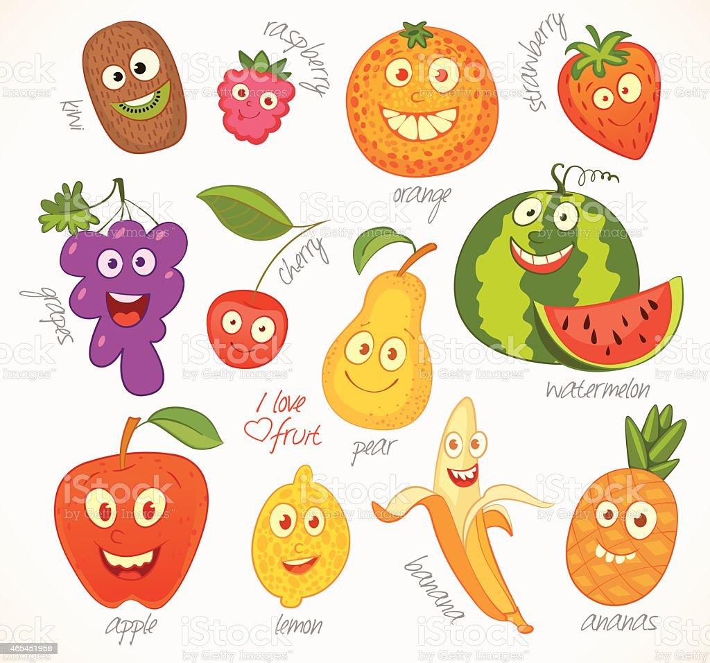 Fruit. Funny cartoon character vector art illustration