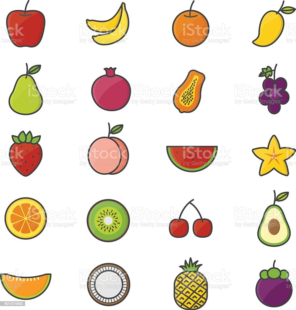 Fruit Healthy Food Set Of Nature Color Icons vector art illustration