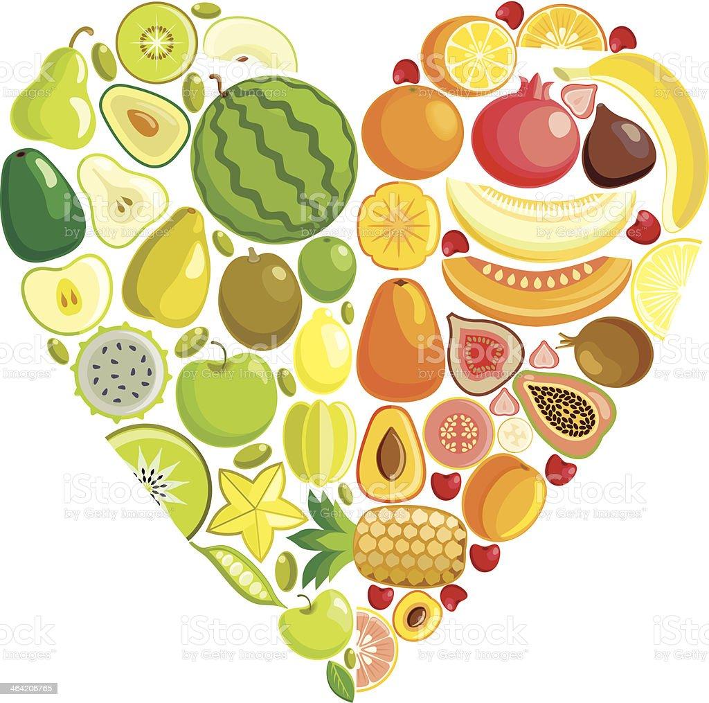 Fruit heart vector art illustration