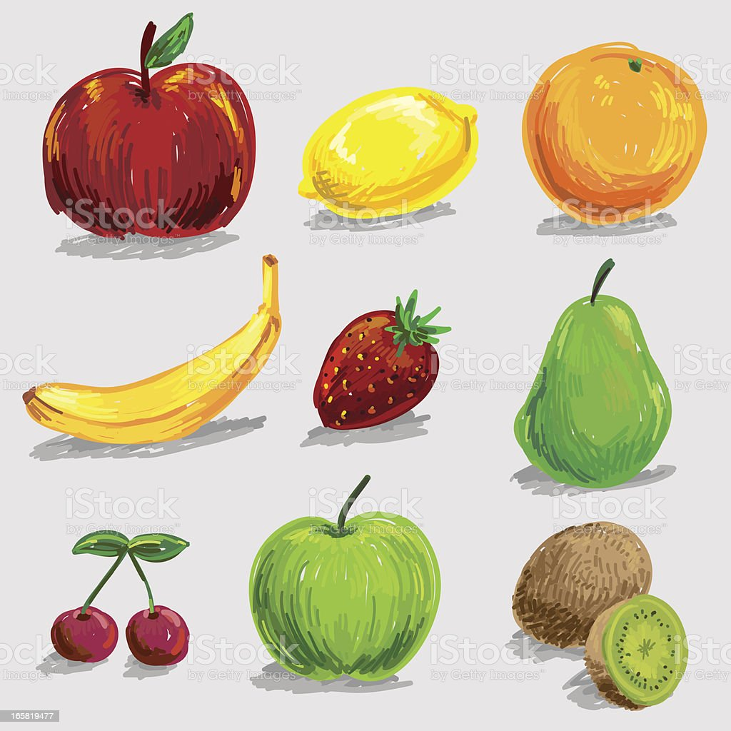 Fruit icon collection in colour sketch style vector art illustration