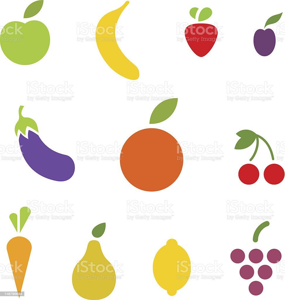 Fruit icon collection. stock photo