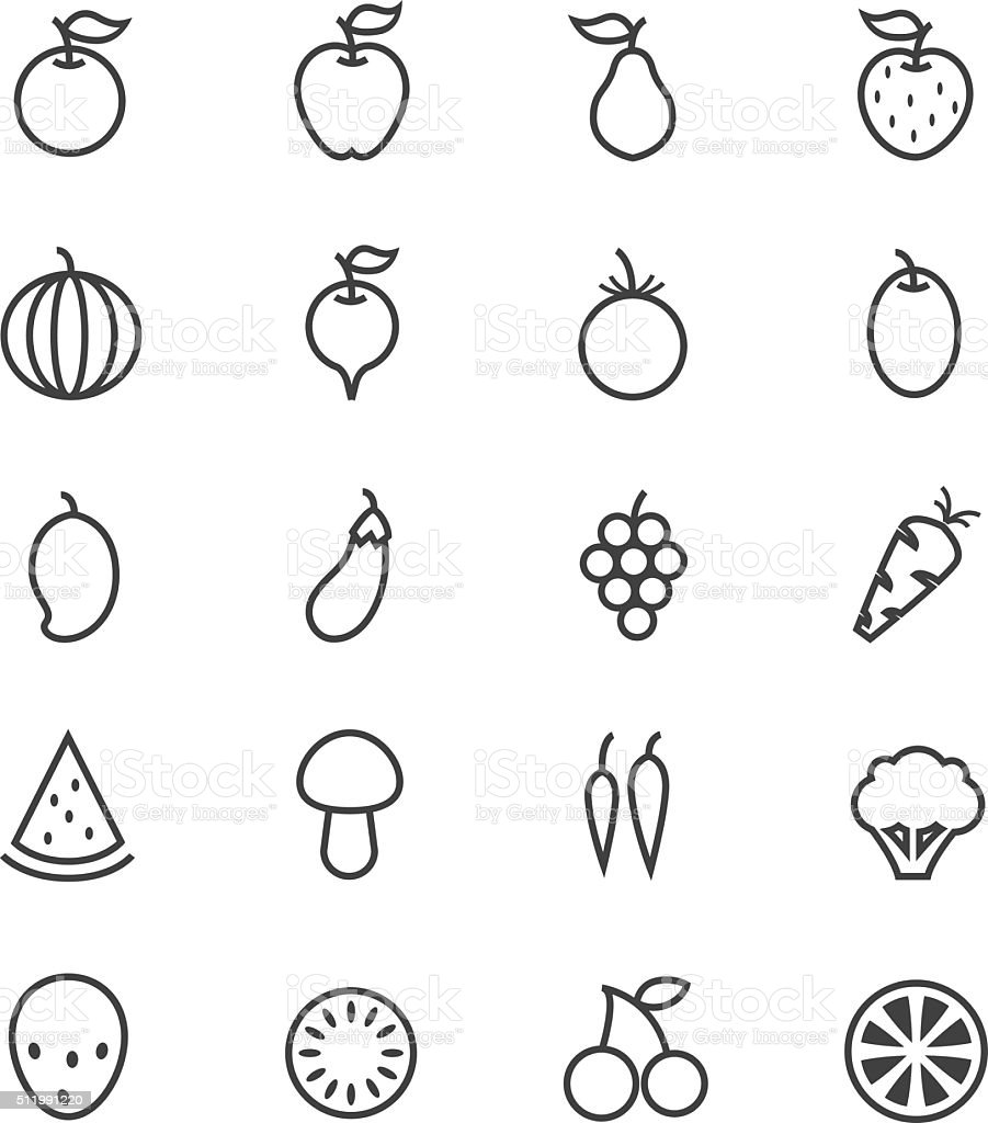 Fruit icon collection vector art illustration