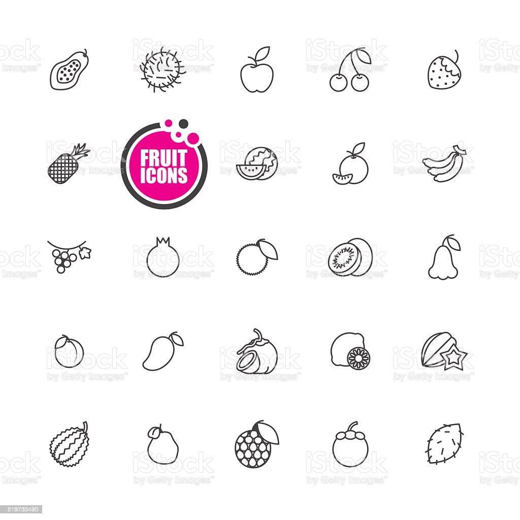 Fruit icon  vector illustration  set vector art illustration