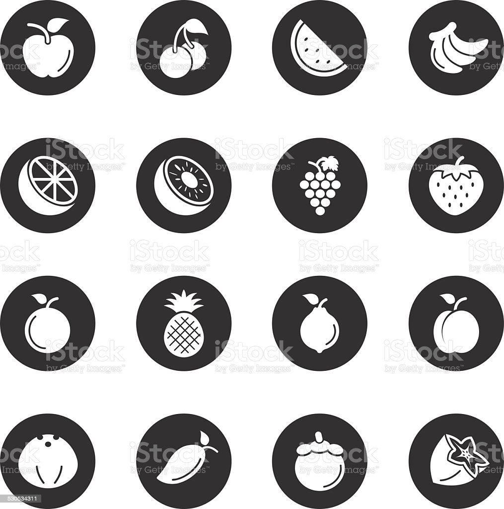 Fruit Icons - Black Circle Series vector art illustration