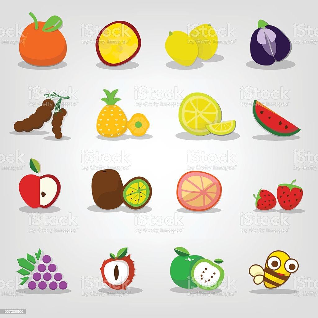 fruit icons set vector art illustration