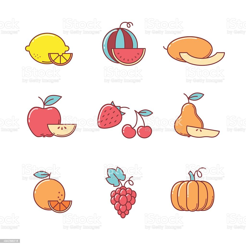 Fruit icons thin line set vector art illustration