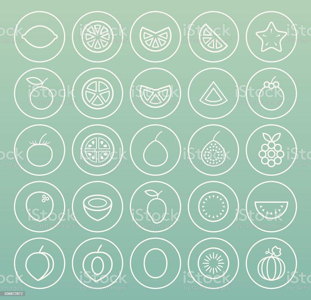 Fruit Icons. vector art illustration