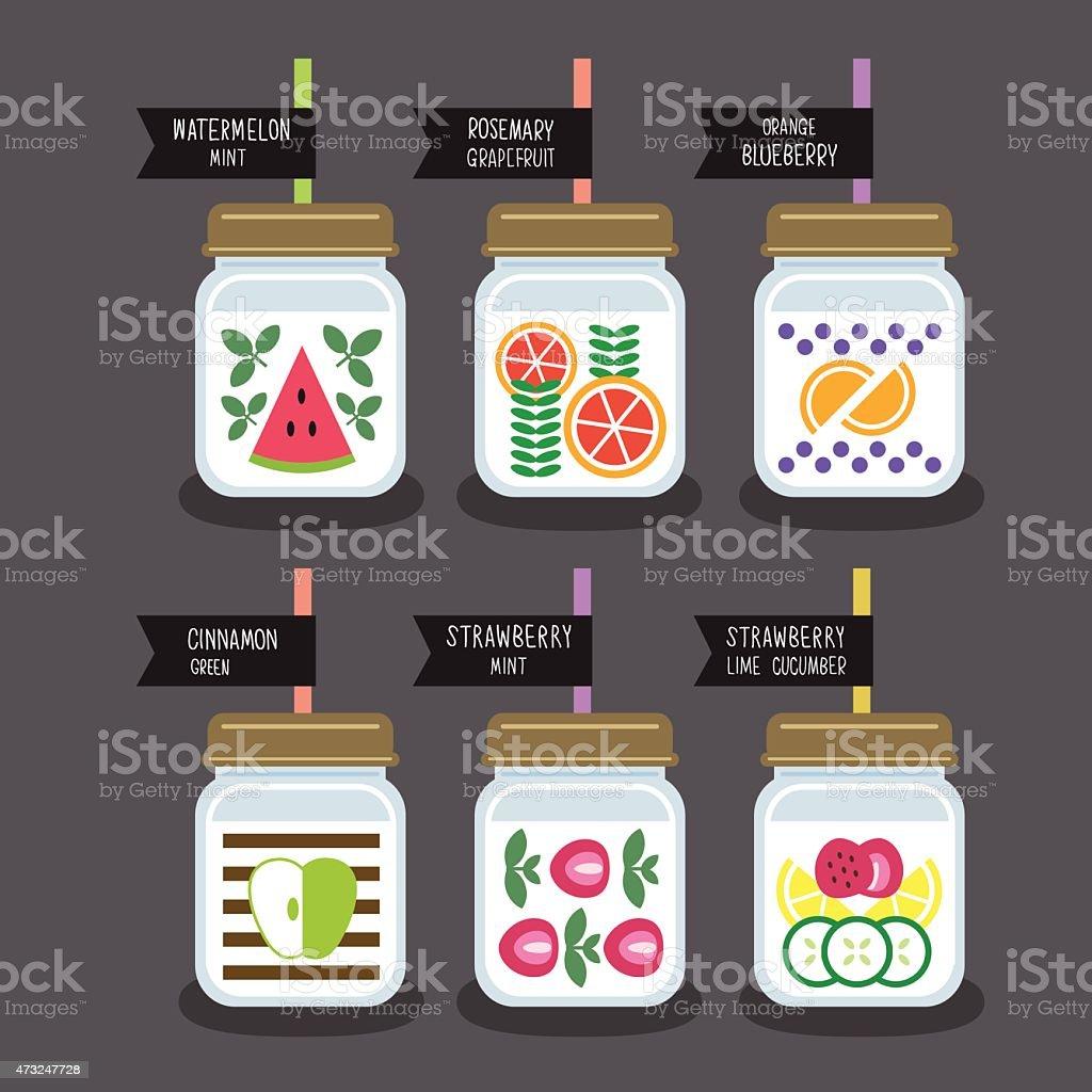 fruit infused water recipe vector art illustration