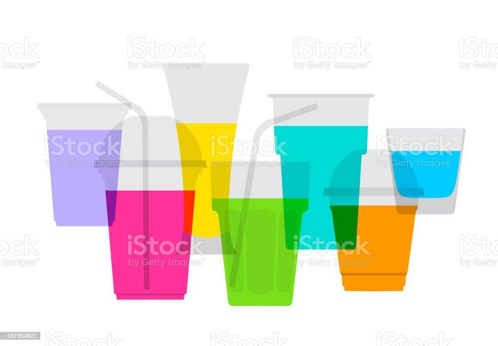 Fruit Juice Drinks vector art illustration