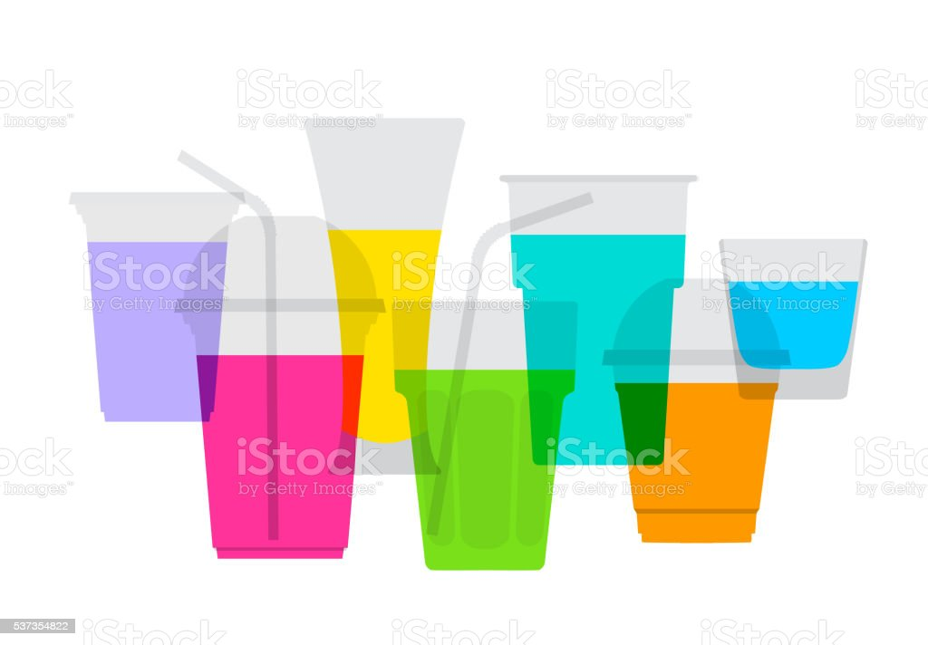 Fruit Juice Drinks vector art illustration