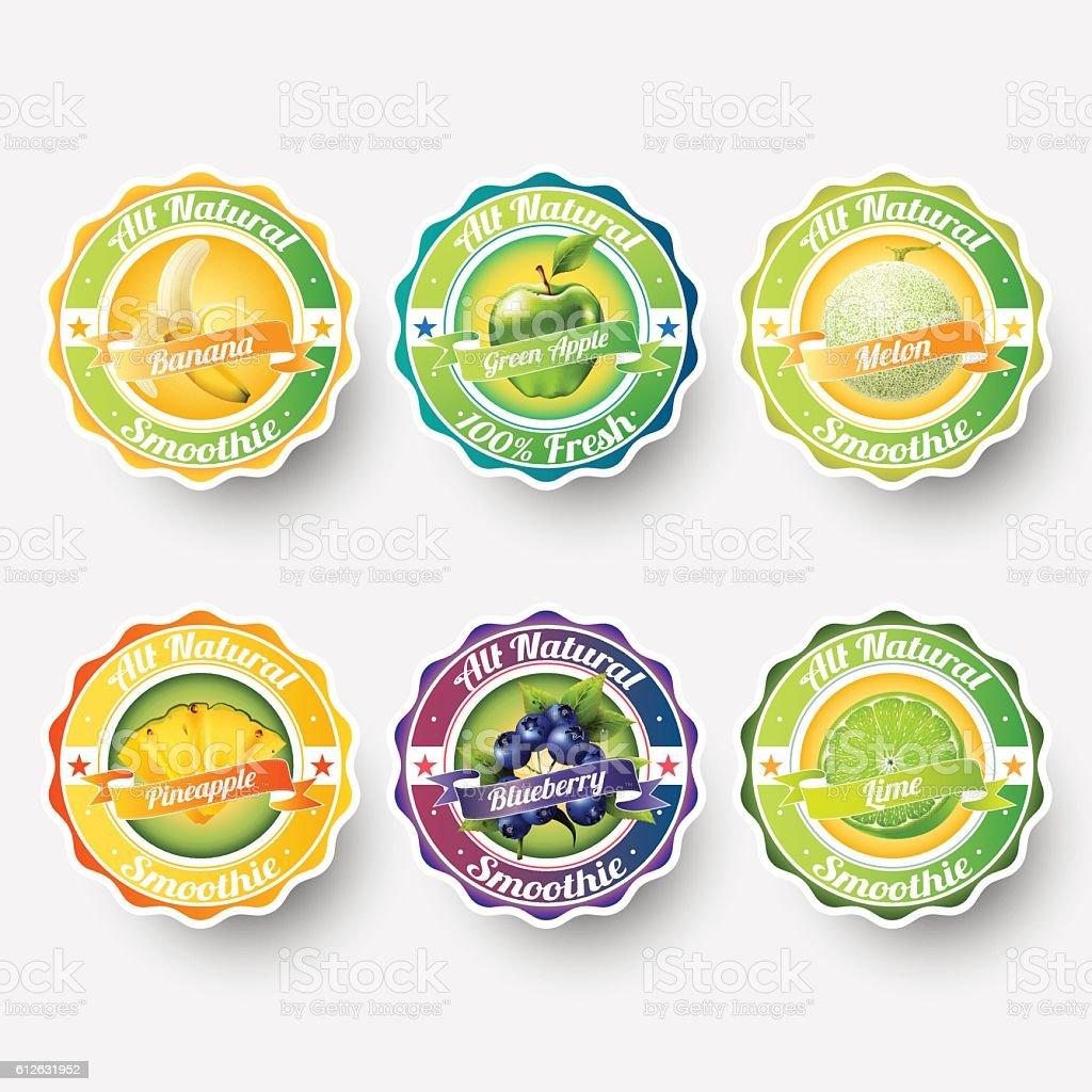fruit labels splash, sticker, advertisement concept vector illustration. vintage badge vector art illustration
