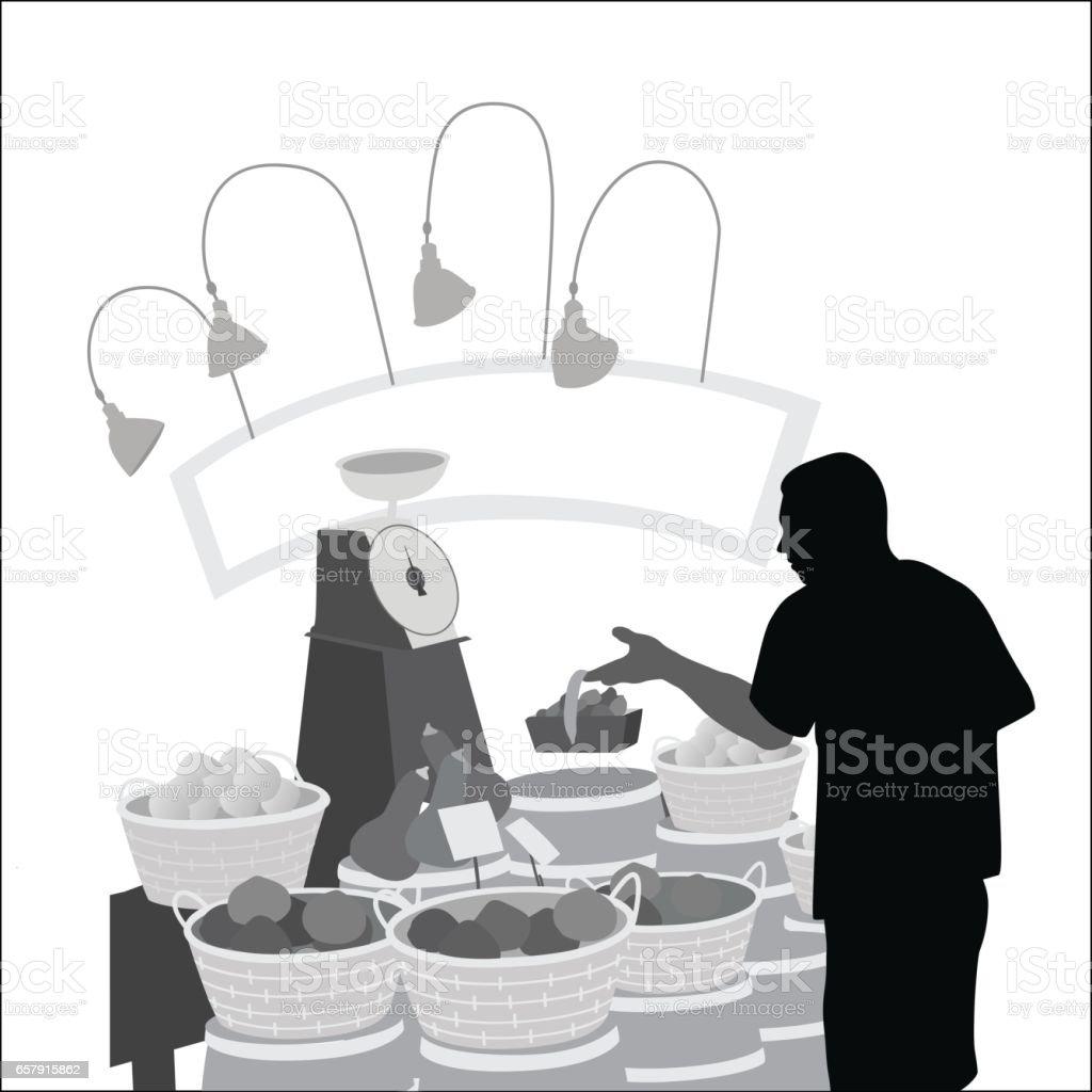 Fruit Maket Sales vector art illustration
