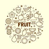 fruit minimal thin line icons set