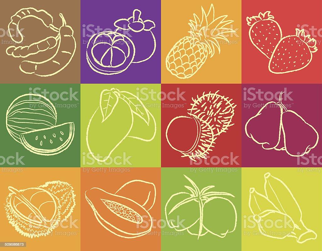Fruit Outline Vector vector art illustration