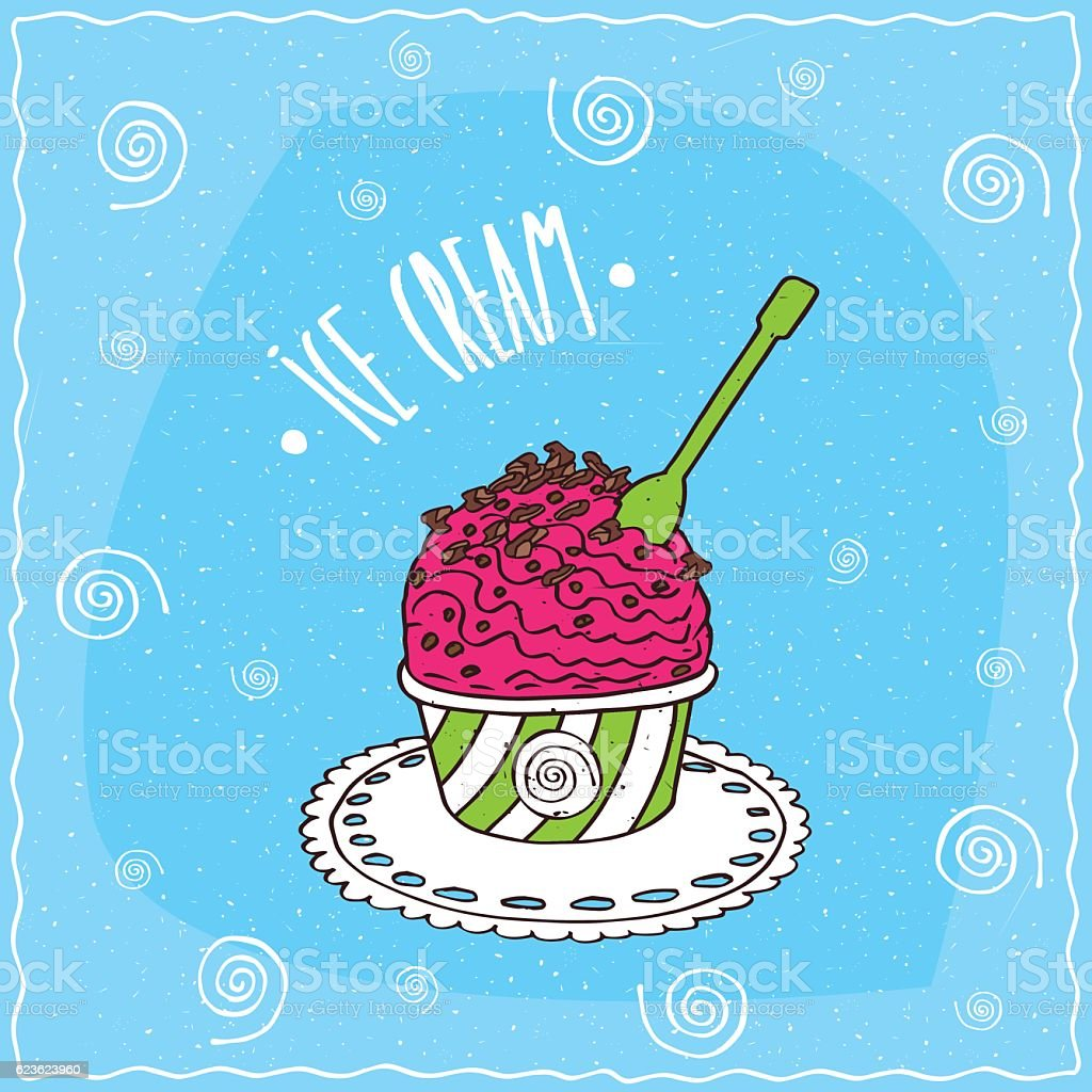 Fruit scoop of ice cream in cup vector art illustration