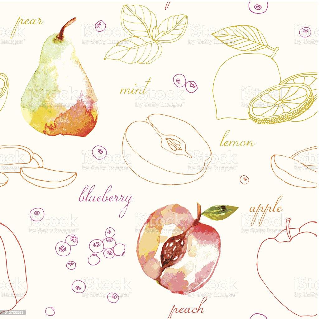 fruit seamless pattern. vector art illustration