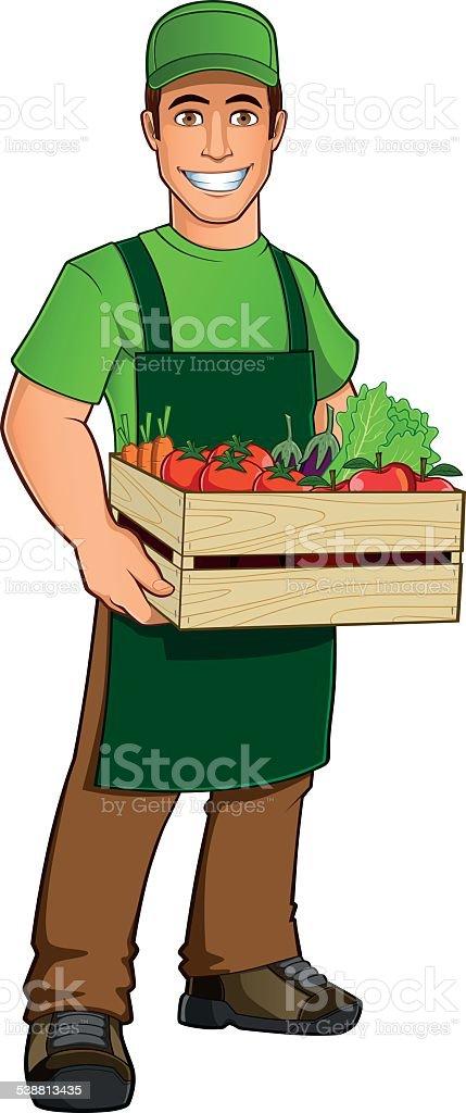 Fruit seller vector art illustration