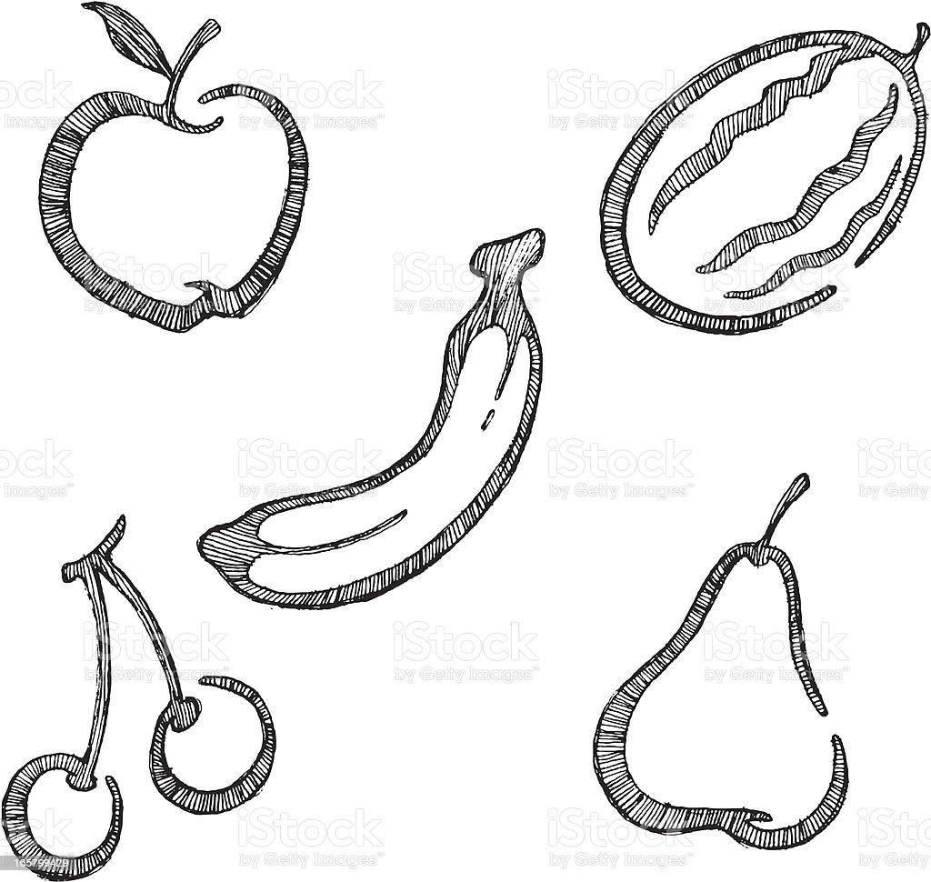 Fruit Sketch Set royalty-free stock vector art