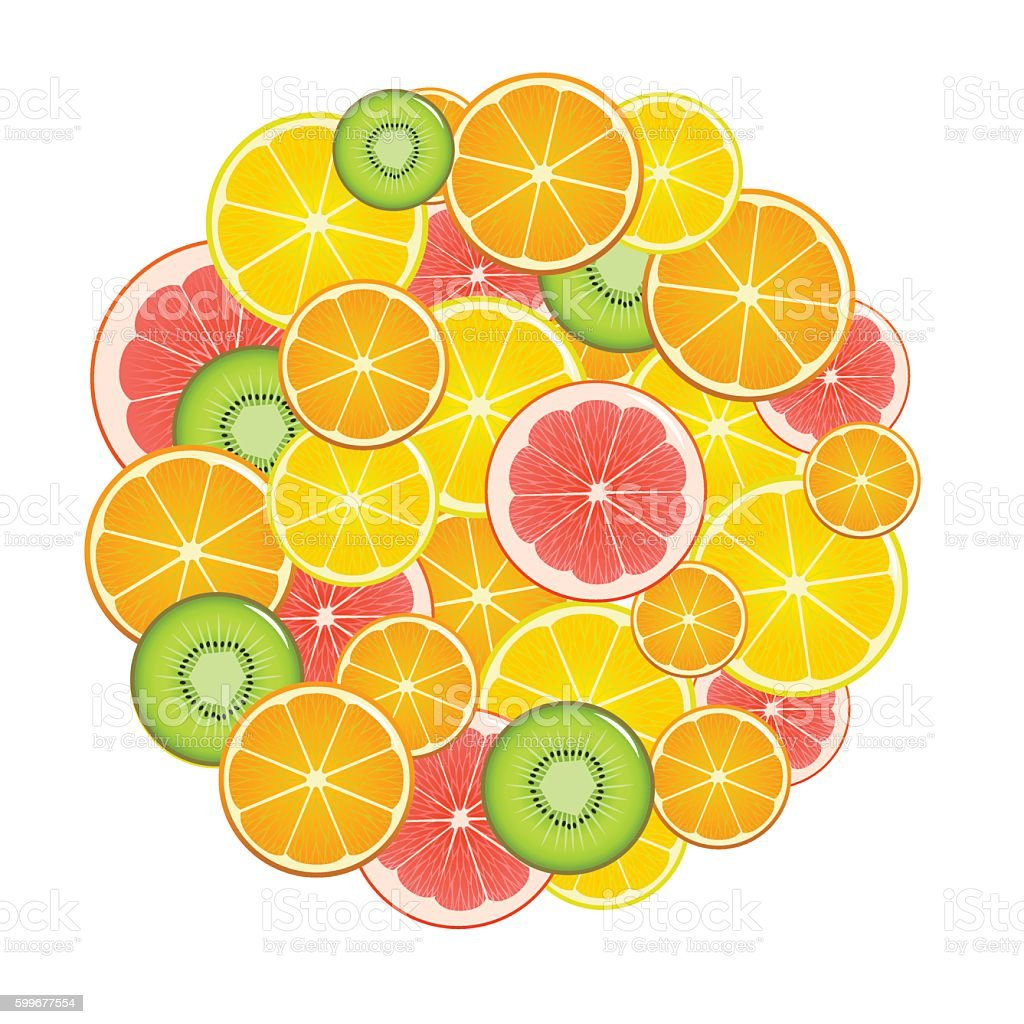 Fruit Slices Round. Vector vector art illustration