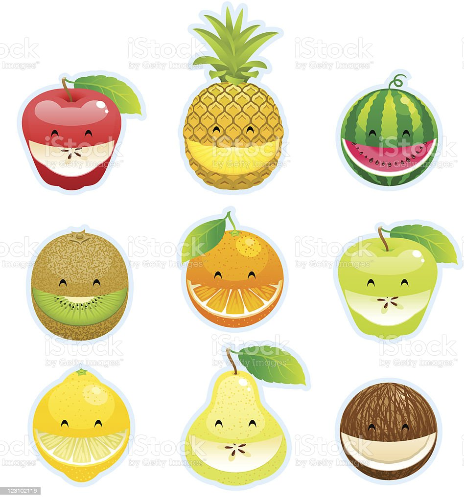 Fruit smileys vector art illustration