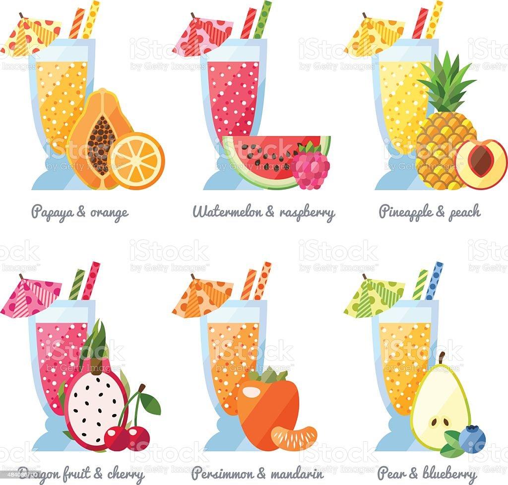 Fruit smoothie (juice) in big glasses vector concept. Flat design. vector art illustration
