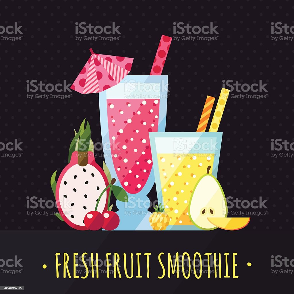 Fruit smoothies (juices) vector background. Modern flat design. vector art illustration